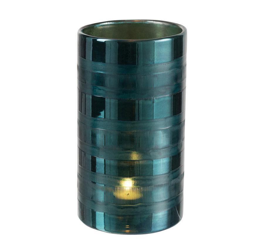 Windlicht Glas Cilinder Hoog  Blauw - XL
