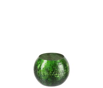 J -Line Windlicht bol Gehamerd Glas Groen - Small