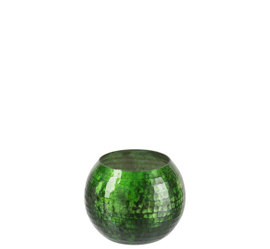 Windlicht bol Gehamerd Glas Groen - Small
