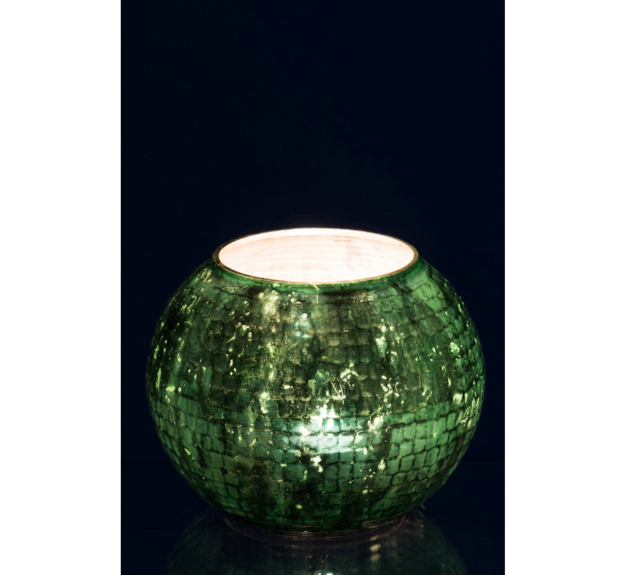 Windlight sphere Hammered Glass Green - Large