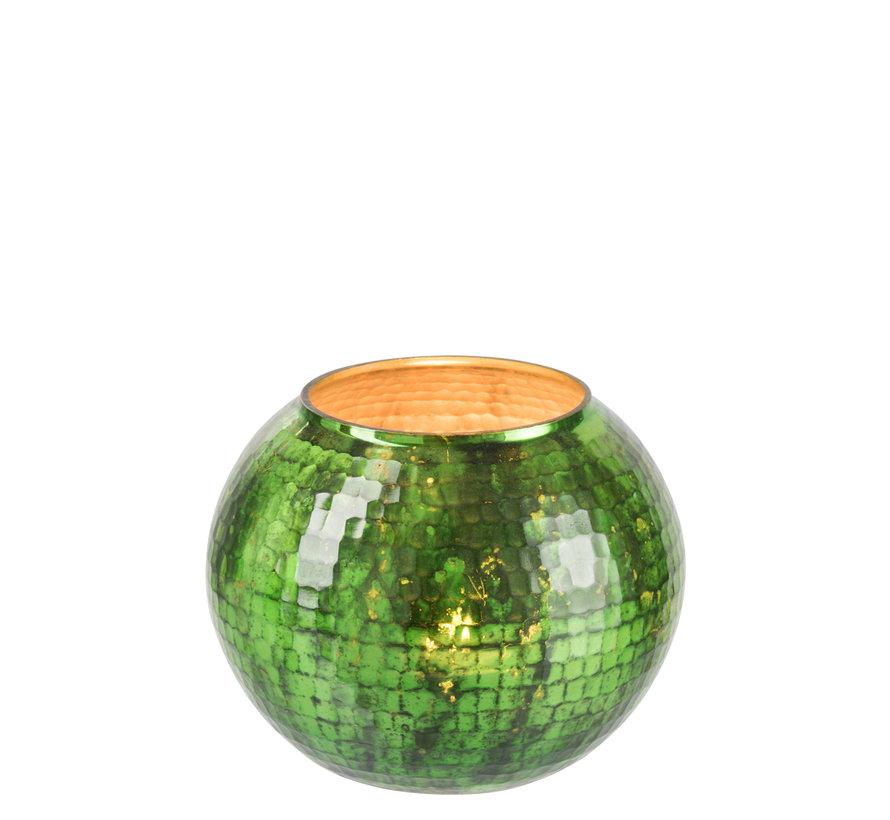 Windlicht bol Gehamerd Glas Groen - Large