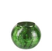 J -Line Windlicht bol Gehamerd Glas Groen - Large
