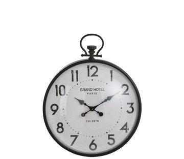 J -Line Wall Clock Round Sphere Metal Glass Black - Large