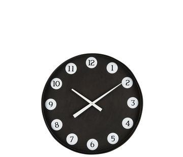 J -Line Wandklok Rond Nummers Metaal - Zwart