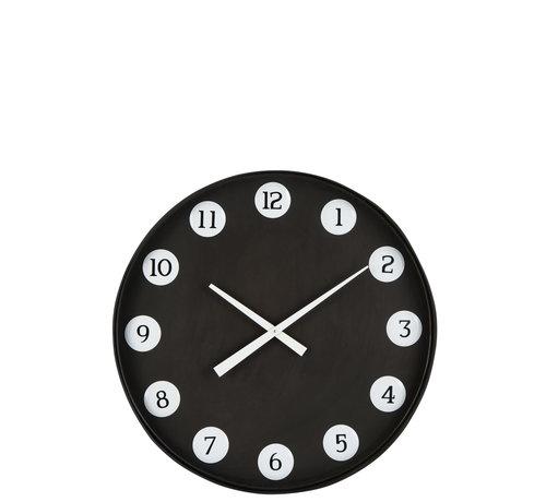 J -Line Wall Clock Round Numbers Metal - Black