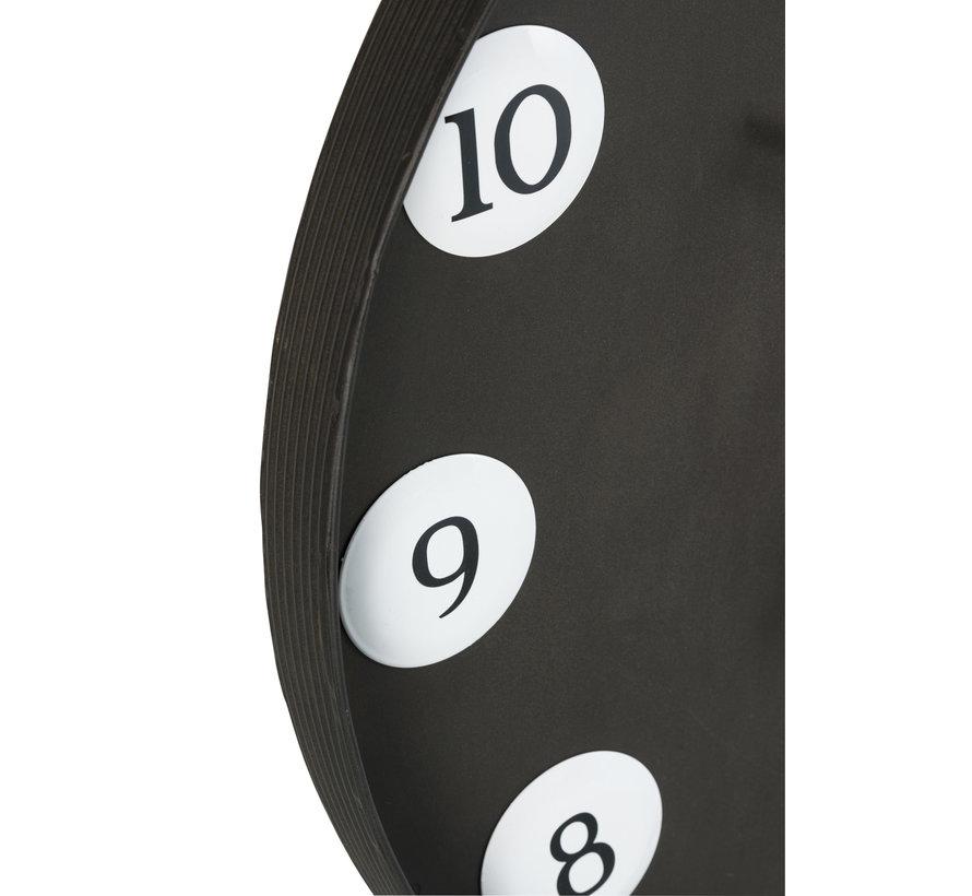 Wall Clock Round Numbers Metal - Black