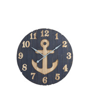 J -Line Wall Clock Round Wood Anchor Blue - Small