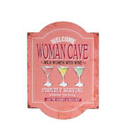 J -Line Decoratie Bord Woman Cave Metaal - Roze