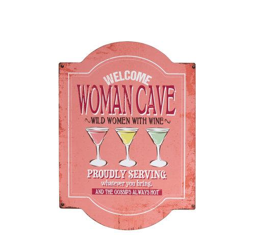 J -Line Decoration Plate Woman Cave Metal - Pink
