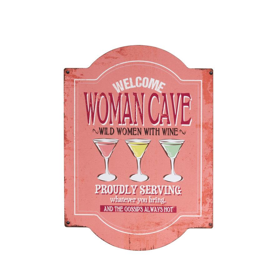 Decoratie Bord Woman Cave Metaal - Roze