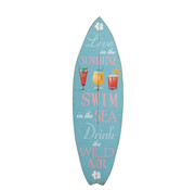 J -Line Decoratie Bord Surfplank Hout Blauw - Mix