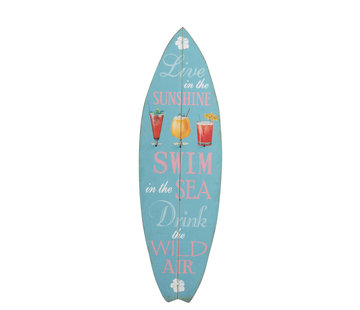 J -Line Decoration Board Surfboard Wood Blue - Mix