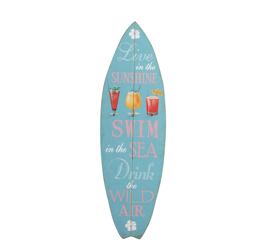 Decoration Board Surfboard Wood Blue - Mix