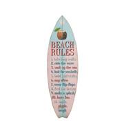 J-Line Decoratie Bord Surfplank Hout Blauw Roze - Mix