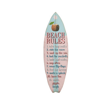 J-Line Decoration Board Surfboard Wood Blue Pink - Mix