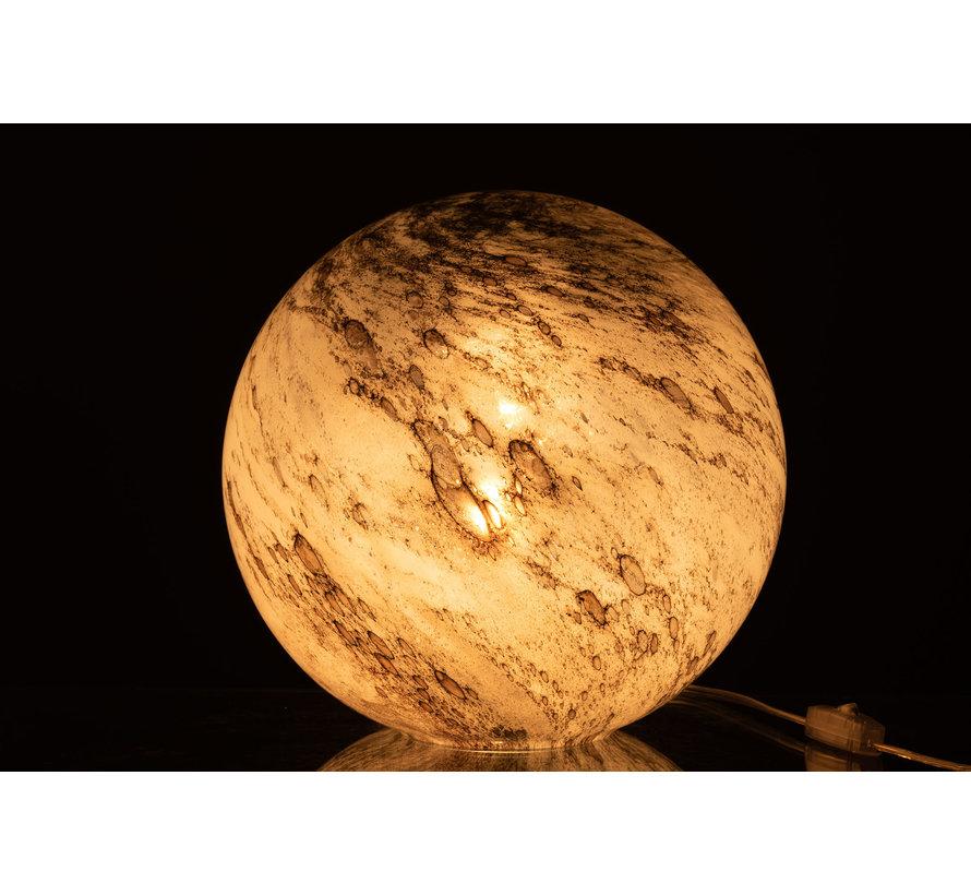 Tafellamp Glas Bol Marmer Grijs - Large