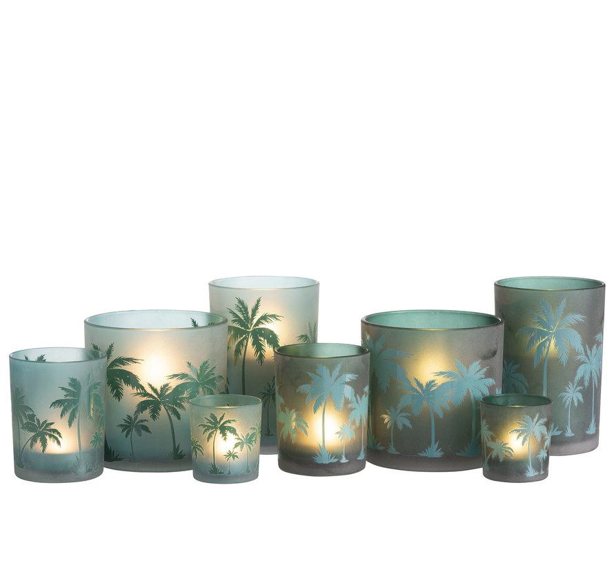 Theelichthouder Glas Rond Palmboom Groen -XL