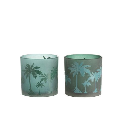 J -Line Theelichthouder Glas Rond Palmboom Groen -XL