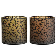 J -Line Tealight Holder Glass Round Mosaic Ocher Brown - XL