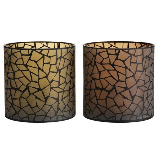J -Line Theelichthouder Glas Rond Mozaiek Oker Bruin - XL
