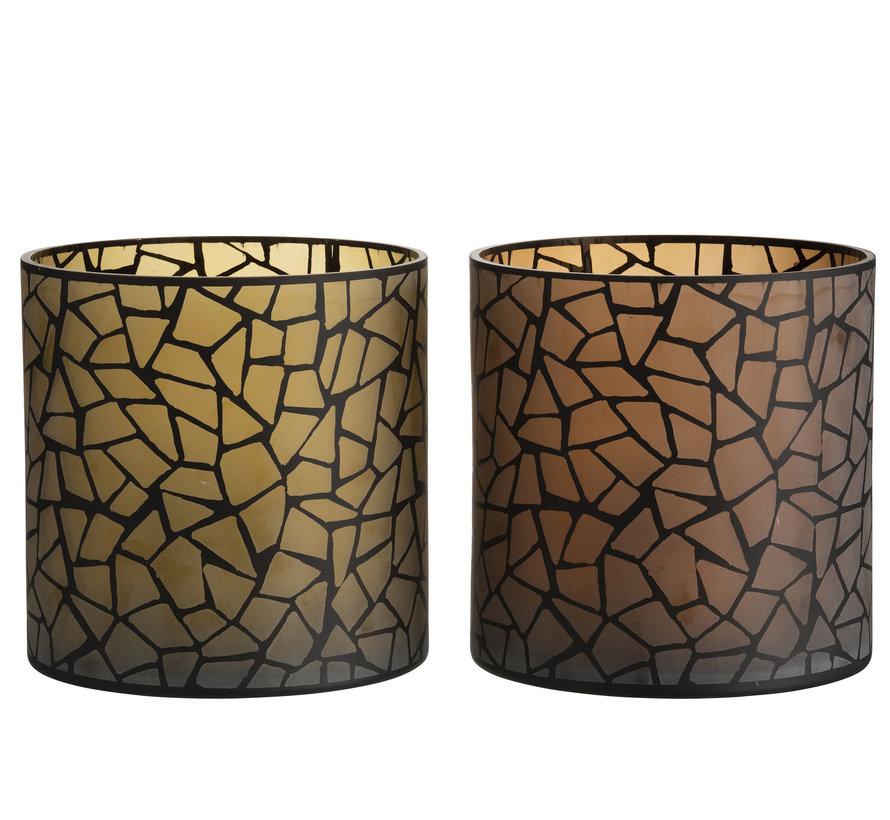 Theelichthouder Glas Rond Mozaiek Oker Bruin - XL
