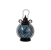 J-Line Theelicht Lantaarn Glas Mozaiek Paars - Blauw