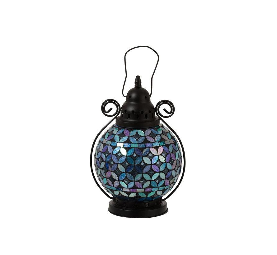 Theelicht Lantaarn Glas Mozaiek Paars - Blauw