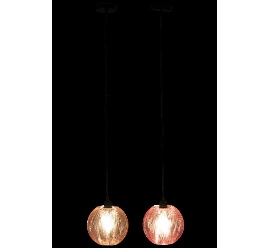 Hanglamp Glas Geribbeld Roze - Paars