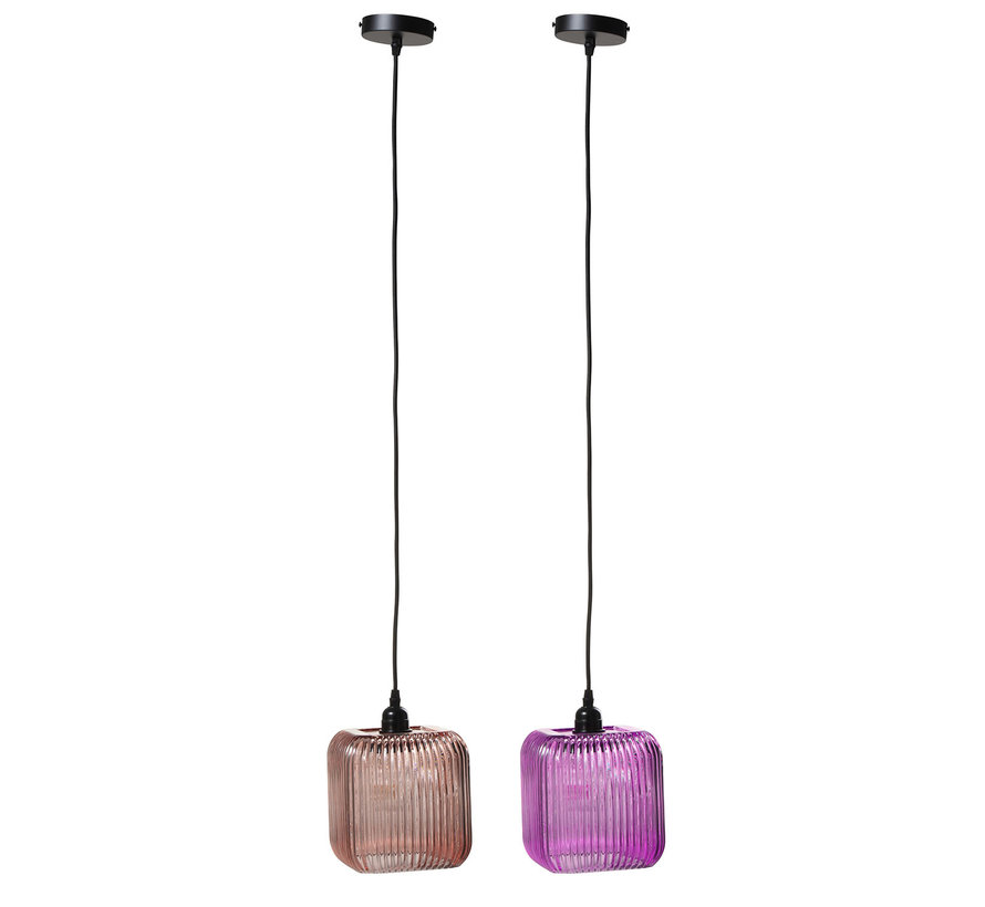 Glass hanging lamp Square Ribbed Pink - Purple