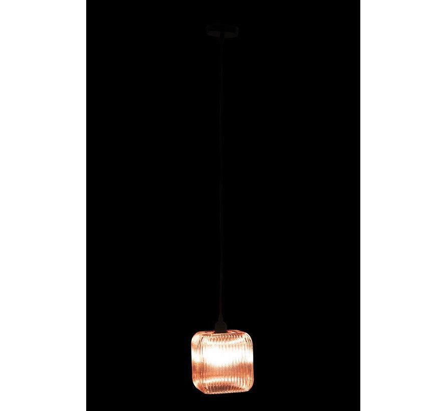 Hanglamp Glas  Vierkant Geribbeld Roze - Paars