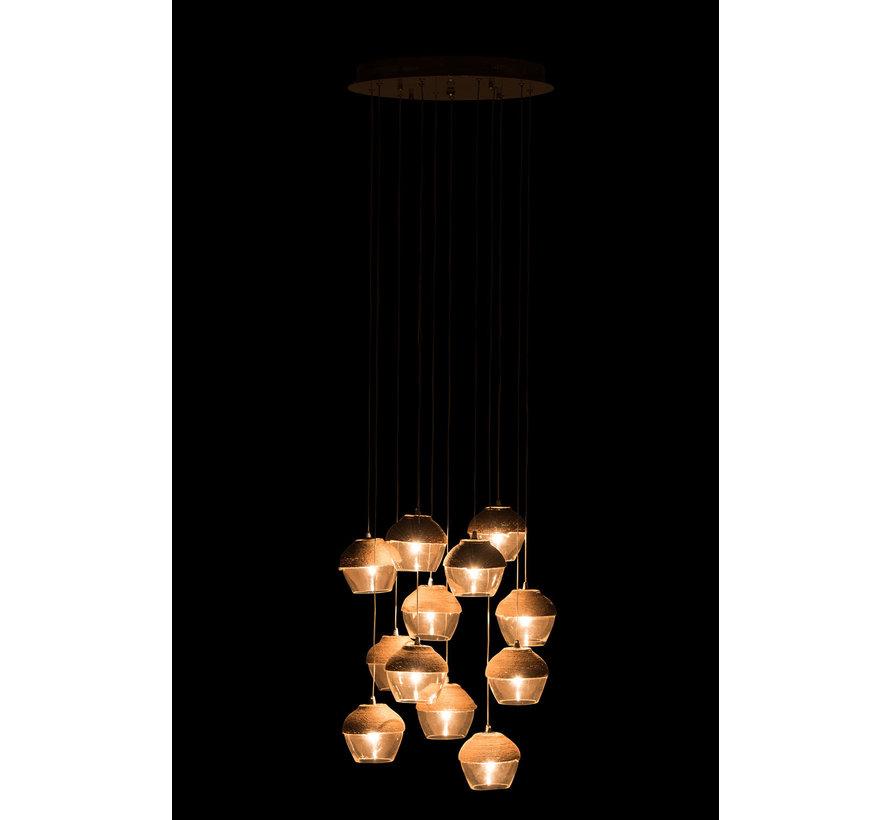 Hanglamp Glas Transparant Touw - Bruin