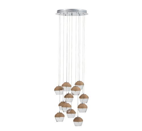 J -Line Hanglamp Glas Transparant Touw - Bruin