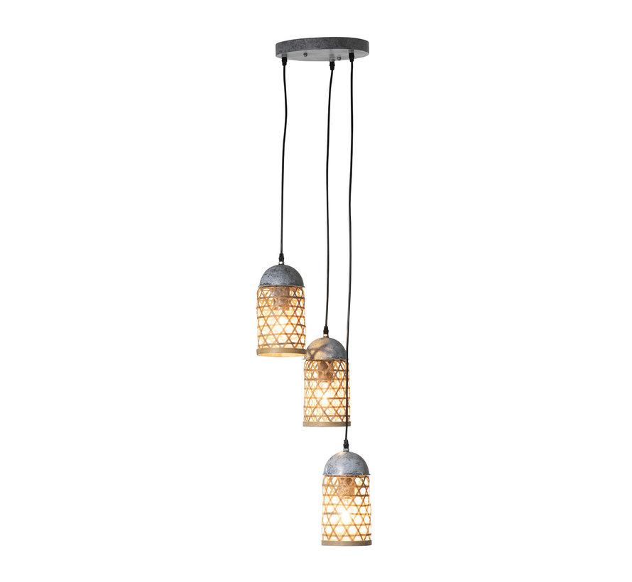 Hanging lamp Metal Natural Bamboo - Brown