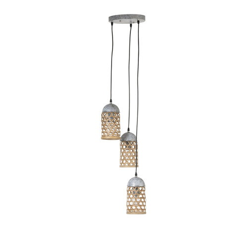 J -Line Hanging lamp Metal Natural Bamboo - Brown