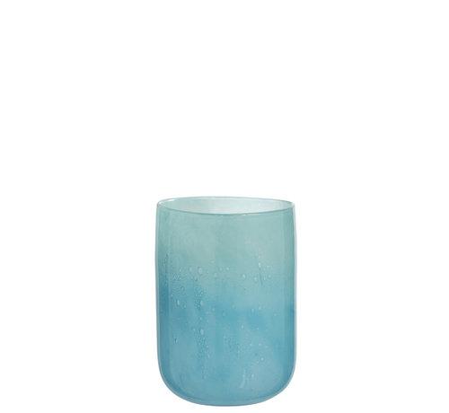 J -Line Vaas Glas Luchtbellen Blauw - Medium