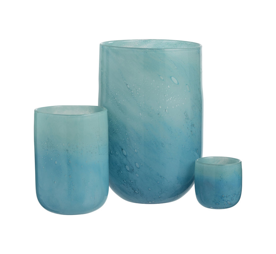 Vaas Glas Luchtbellen Blauw - Medium