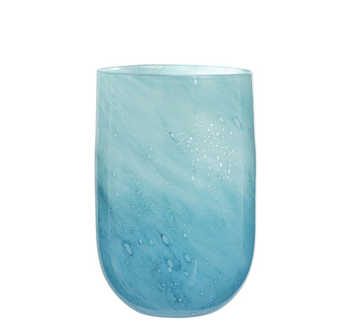 J -Line Vaas Glas Luchtbellen Blauw - Large