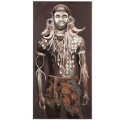 J-Line Decoratie Canvas Afrikaanse Man Donkere - Kleuren