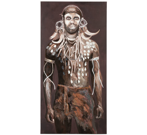 J -Line Decoratie Canvas Afrikaanse Man Donkere - Kleuren