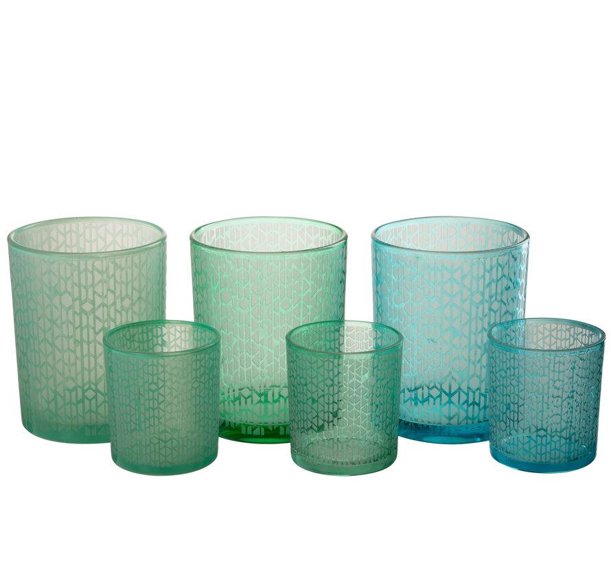 Theelichthouder Glas Geometrisch Groen Blauw - Large