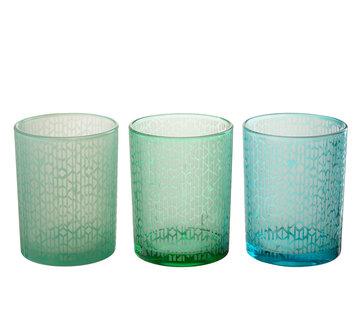 J -Line Tealight Holder Glass Geometric Green Blue - Large