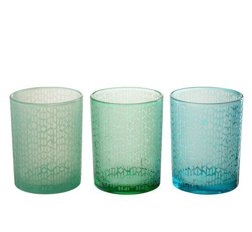 J -Line Theelichthouder Glas Geometrisch Groen Blauw - Large