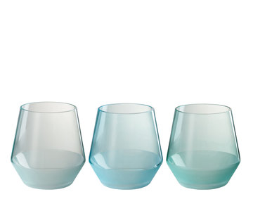 J -Line Theelichthouder Glas Rond Groen Blauw - Large