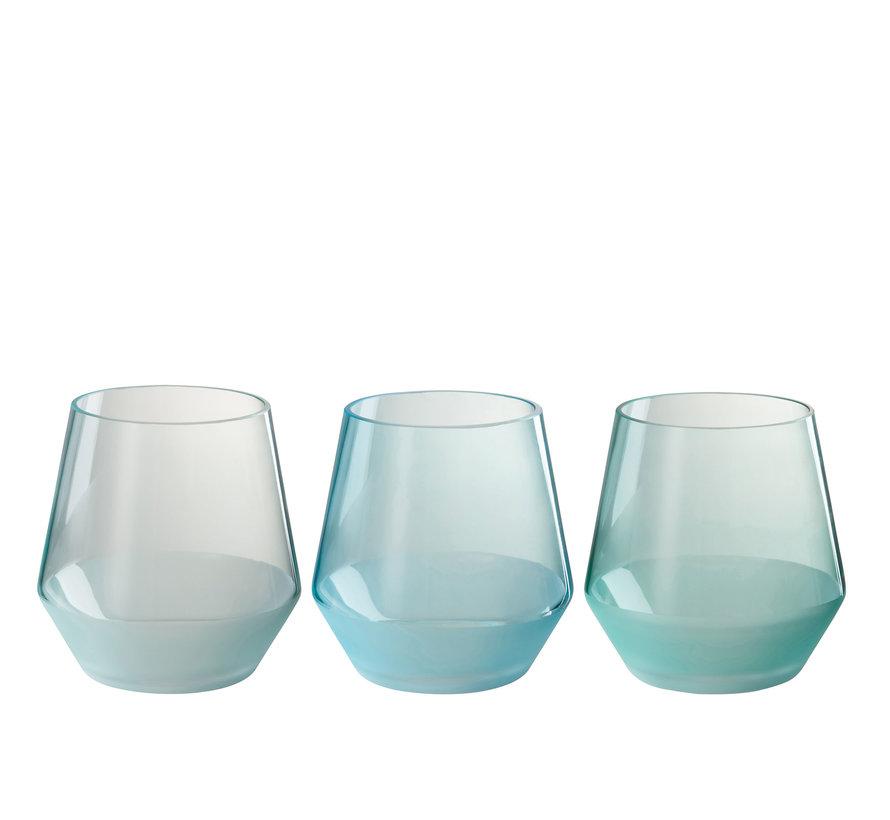 Theelichthouder Glas Rond Groen Blauw - Large