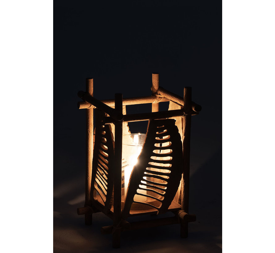 Tealight holder Glass Bamboo Brown - Small