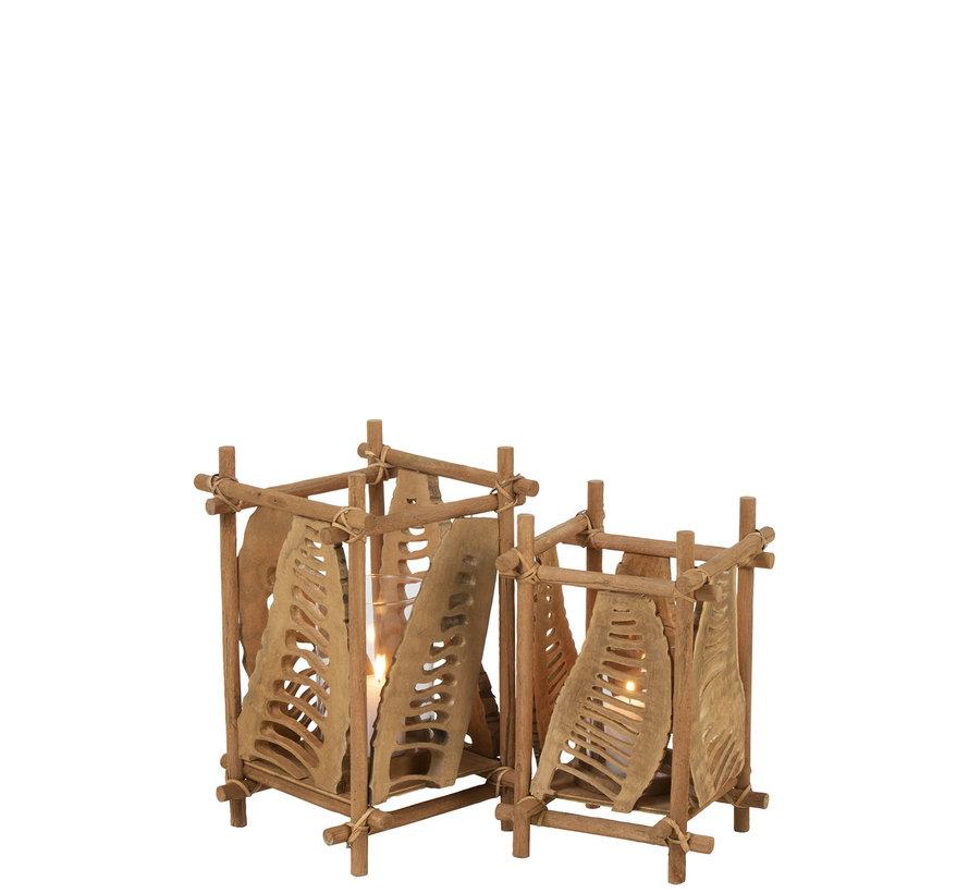 Theelichthouder Glas Bamboe Bruin - Large