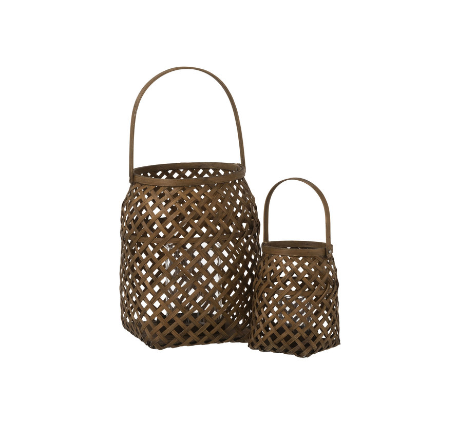 Tealight Holder Glass Bamboo Braid Brown - Small