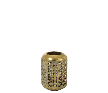 J -Line Tealight holder Metal Oriental Gold Blue - Small