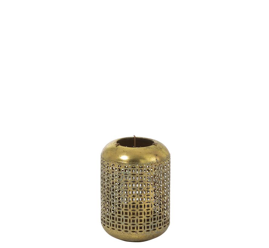 Theelichthouder Metaal Oosters Goud Blauw - Small