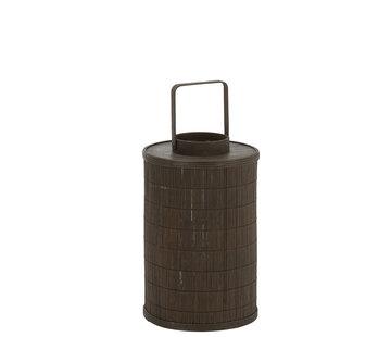 J -Line Lantaarn Cilinder Bamboe Glas Bruin - Large
